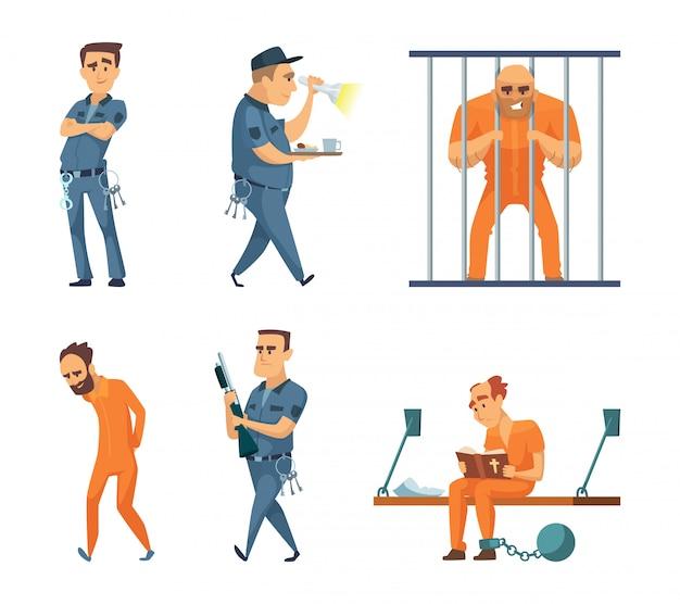 Personajes conjunto de guardias y prisioneros.