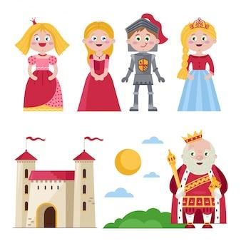 Personajes de cuentos medievales con castillo