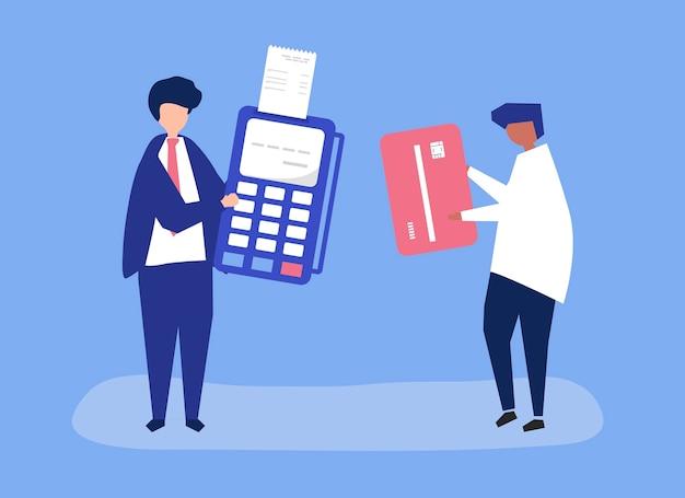 Personajes de personas que realizan una transacción con tarjeta de crédito