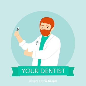 Personajes de dentista en diseño plano