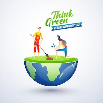 Personajes del día mundial del medio ambiente en el planeta tierra
