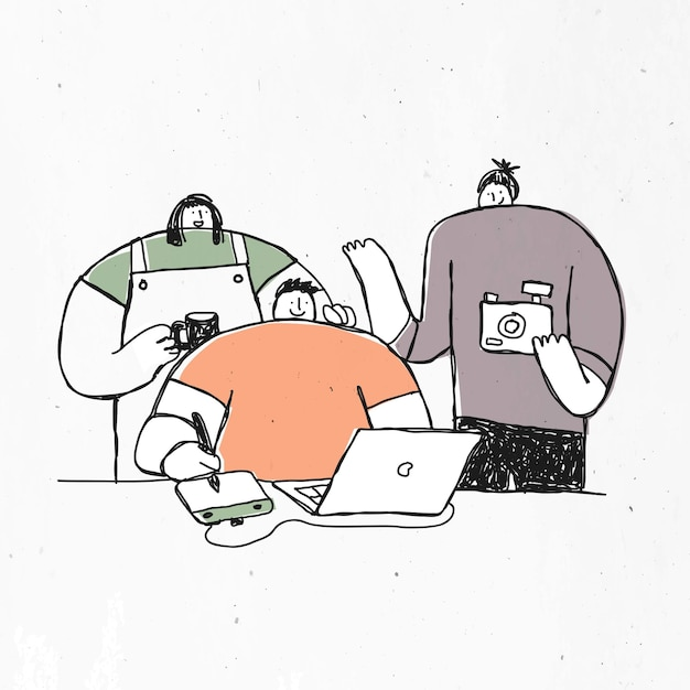 Personajes dibujados a mano con cámara, taza de café y laptop