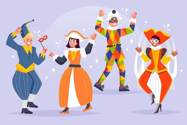 Personajes dibujados a mano con disfraces de carnaval italiano.