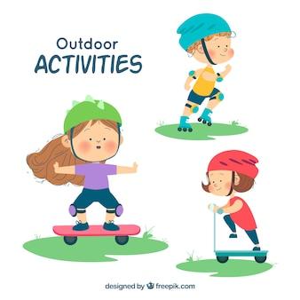 Personajes dibujados a mano haciendo actividades de ocio al aire libre