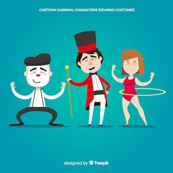 Personajes de dibujo disfrazados en carnaval