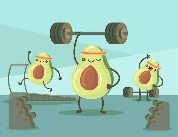 Personajes de dibujos animados de aguacate haciendo ejercicio en la ilustración de gimnasio
