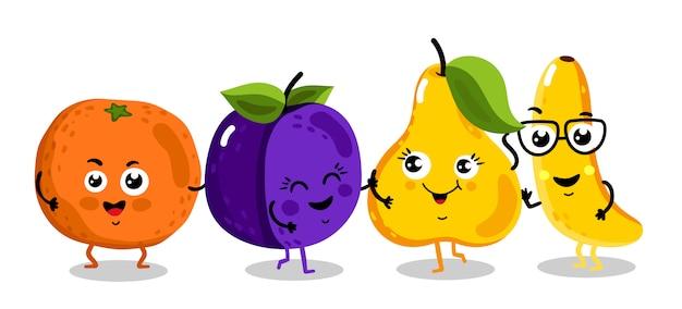 Personajes de dibujos animados aislados de frutas divertidas