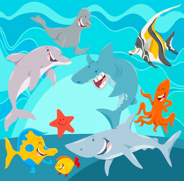 Personajes de dibujos animados de animales marinos bajo el agua.