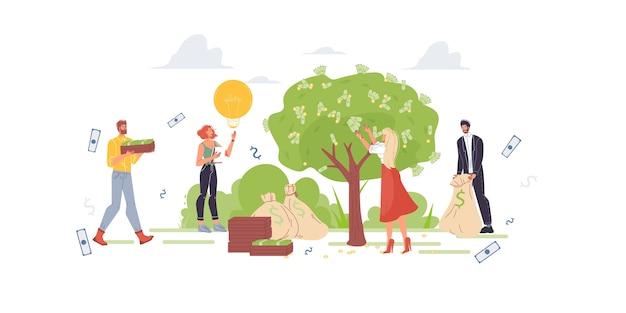 Los personajes de dibujos animados aumentan sus ganancias y obtienen ingresos monetarios: concepto de inversión financiera para sitio web en línea