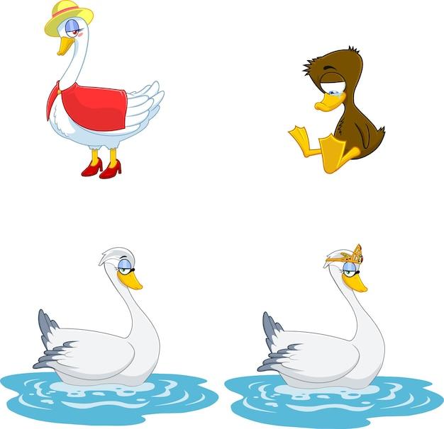 Personajes de dibujos animados de aves