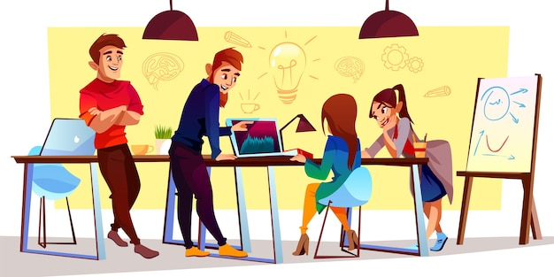 Personajes de dibujos animados en el centro de coworking, espacio creativo. freelancers, diseñadores trabajan juntos