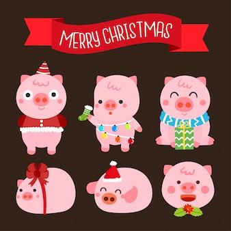 Personajes de dibujos animados de cerdos