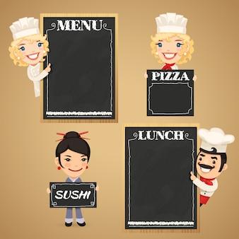 Personajes de dibujos animados de chefs con menú de pizarra