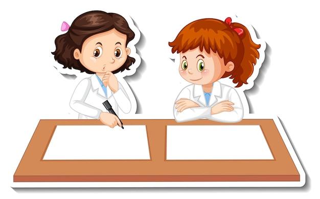 Personajes de dibujos animados de chicas científicas con objeto de experimento científico