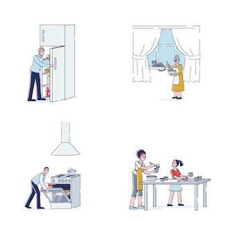 Personajes de dibujos animados cocinando: miembros de la familia preparando comida. abuelos, padres e hija con electrodomésticos y utensilios para cocinar platos