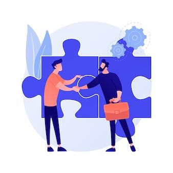 Personajes de dibujos animados de compañeros de trabajo. colaboración efectiva, cooperación de compañeros de trabajo, trabajo en equipo. compañeros discutiendo la solución. interacción exitosa.