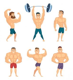 Personajes de dibujos animados de culturistas fuertes y musculosos.