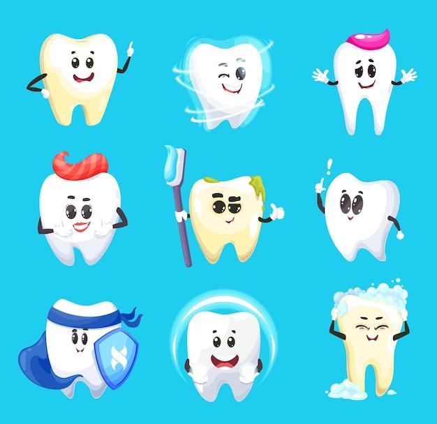Personajes de dibujos animados de dientes de diseño de higiene dental