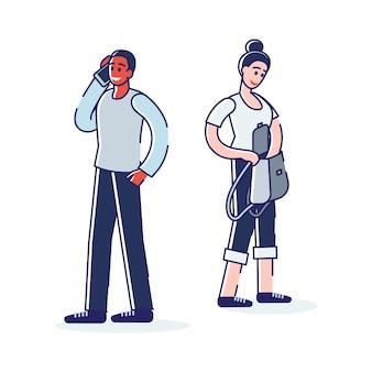 Personajes de dibujos animados diversos esperando autobús.