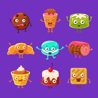 Personajes de dibujos animados de dulces felices y pasteles dulces con caras, piernas de manos