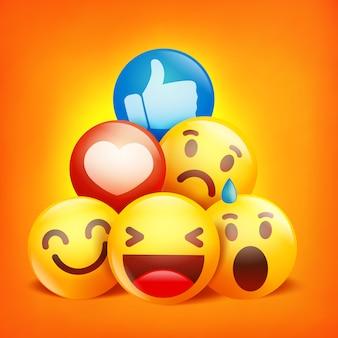 Personajes de dibujos animados de emoji reacciones en redes sociales