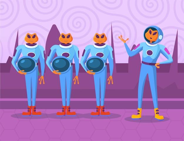 Personajes de dibujos animados extraterrestres de pie y escuchando la orden del jefe. recién llegados de color naranja en trajes espaciales discutiendo ideas, recibiendo instrucciones para el ejecutivo. ovni, concepto de unión