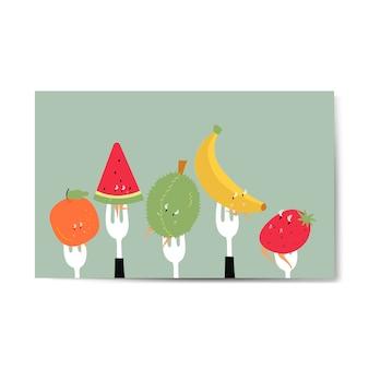 Personajes de dibujos animados de frutas tropicales frescas en vector de horquillas