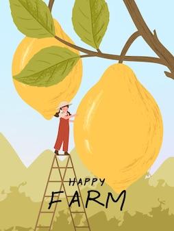 Personajes de dibujos animados de granjero con cosecha de cítricos de limón en ilustraciones de carteles de granja