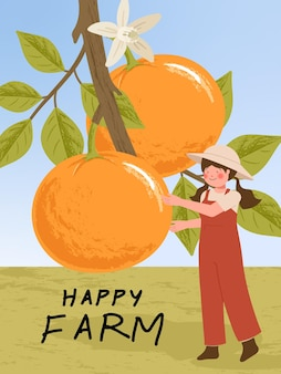 Personajes de dibujos animados de granjero con cosecha de cítricos naranjas en ilustraciones de carteles de granja