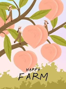 Personajes de dibujos animados de granjero con cosecha de frutas de durazno en ilustraciones de carteles de granja