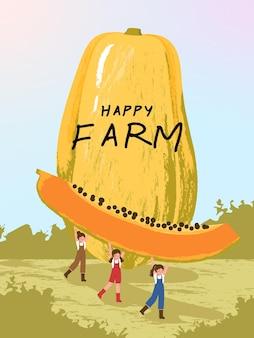 Personajes de dibujos animados de granjero con cosecha de frutas de papaya en ilustraciones de carteles de granja