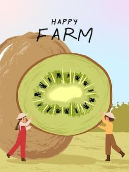 Personajes de dibujos animados de granjero con cosecha de kiwis en ilustraciones de carteles de granja
