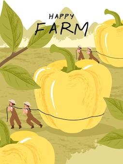 Personajes de dibujos animados de granjero con cosecha de pimiento en ilustraciones de carteles de granja