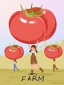 Personajes de dibujos animados de granjero con cosecha de tomate en ilustraciones de carteles de granja