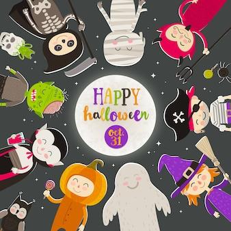 Personajes de dibujos animados de halloween contra un cielo nocturno estrellado. los niños disfrazados de halloween están parados en círculo frente a una gran luna con saludo. ilustración.