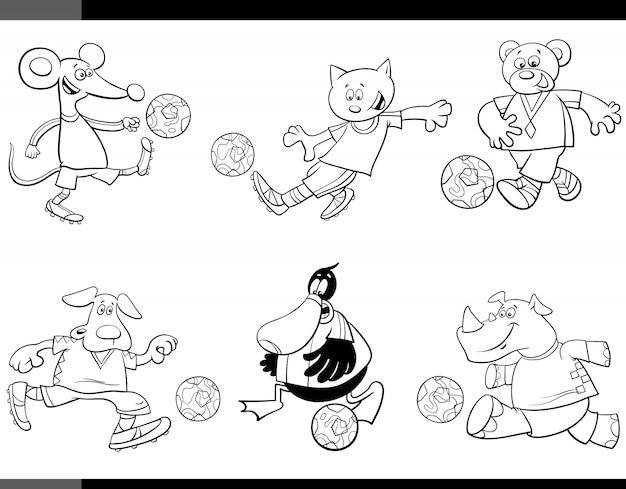 Personajes de dibujos animados de jugadores de fútbol animal