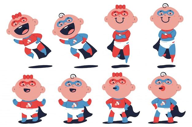 Personajes de dibujos animados lindo bebé superhéroe bebé y niña conjunto aislado sobre fondo blanco.
