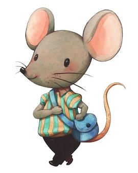 Personajes de dibujos animados lindo de la ilustración de la acuarela del ratón gris