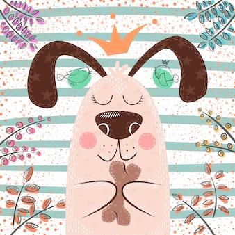 Personajes de dibujos animados lindo perro princesa