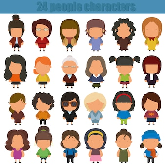 Personajes de dibujos animados lindo personas