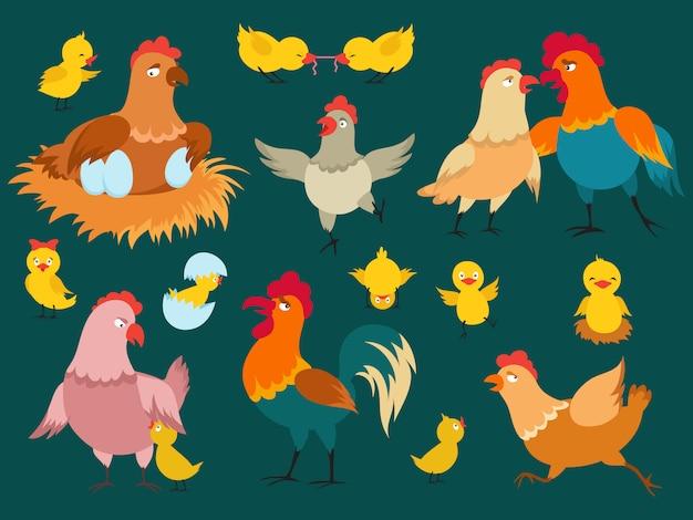 Personajes de dibujos animados lindo pollo de conjunto