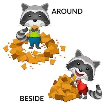 Personajes de dibujos animados de mapaches