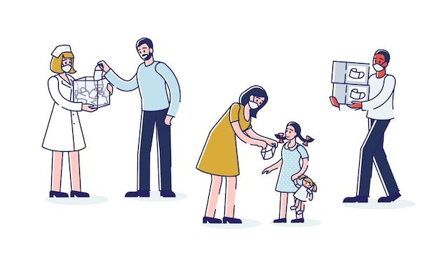 Personajes de dibujos animados con máscara médica para la prevención y protección del virus corona