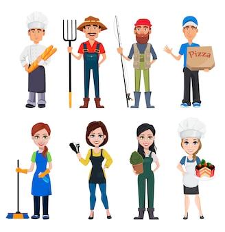 Personajes de dibujos animados masculinos y femeninos con diversas ocupaciones.
