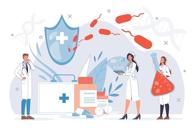 Personajes de dibujos animados médico plano en el trabajo en uniforme