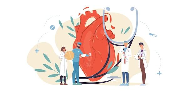 Personajes de dibujos animados médico con uniformes, batas de laboratorio con dispositivos médicos y símbolos