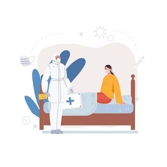 Personajes de dibujos animados médicos en uniforme, batas de laboratorio con dispositivos médicos y concepto de tratamiento y terapia de pacientes-médicos
