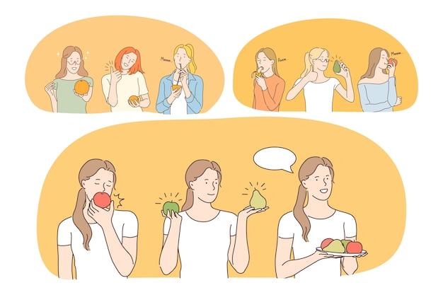 Personajes de dibujos animados de mujeres jóvenes positivas comiendo verduras frescas