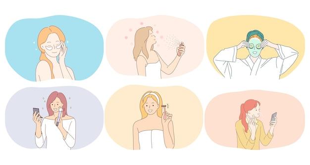 Personajes de dibujos animados de mujeres jóvenes sonrientes que usan crema facial, laca para el cabello, máscaras de belleza, parches para los ojos, maquinilla de afeitar para afeitar y hacer ilustración de maquillaje