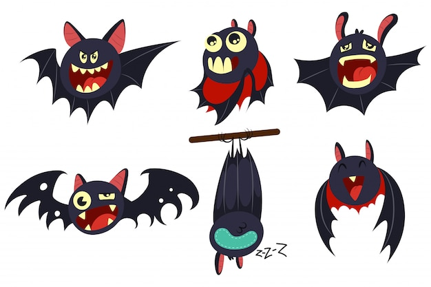 Personajes de dibujos animados de murciélago vampiro conjunto aislado en blanco.